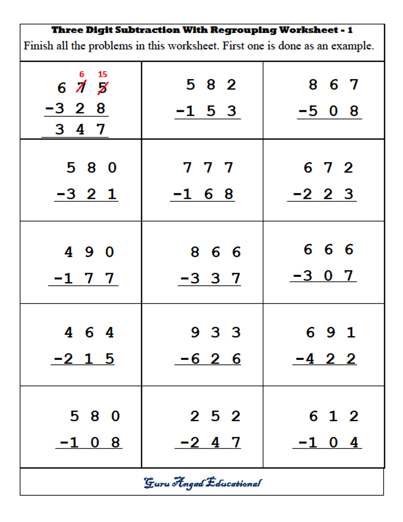 Subtraction Worksheets With Regrouping 3rd Grade