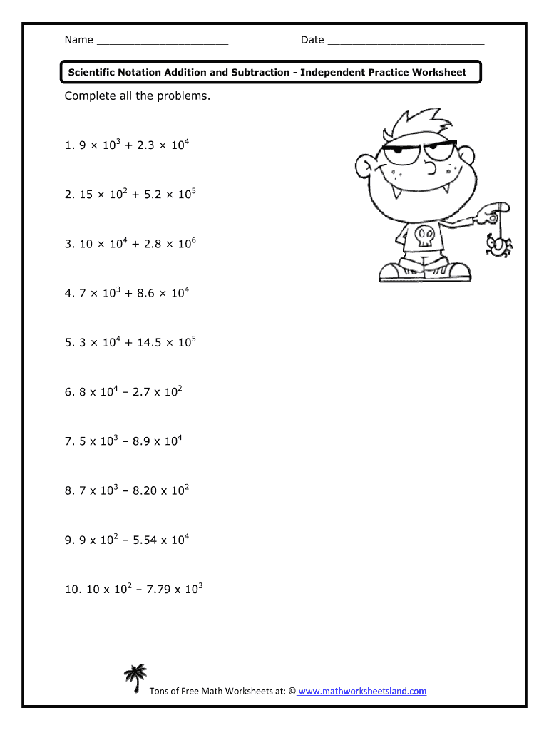 Adding And Subtracting Numbers In Scientific Notation Worksheet