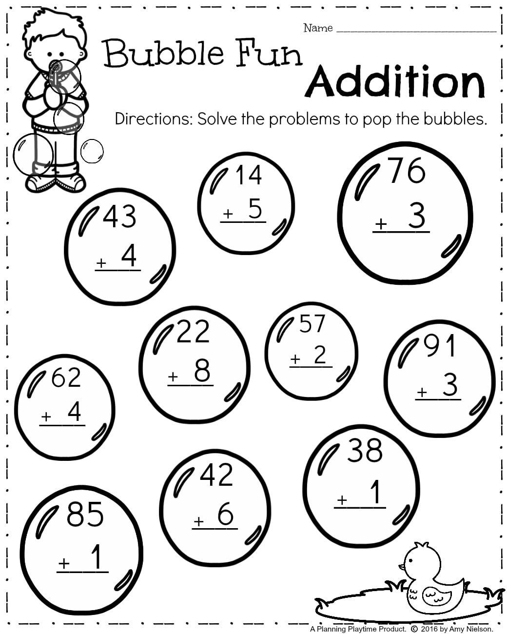 First Grade Math Worksheets For Spring - Addition 2 Digits