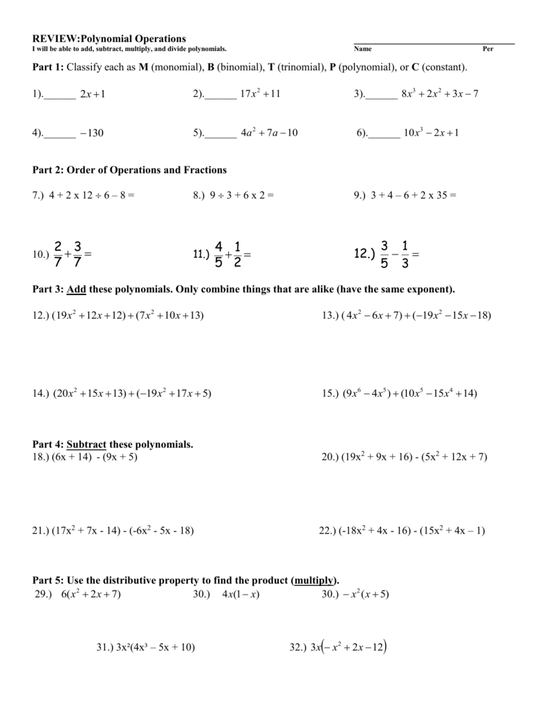 Add Subtract Multiply Divide Polynomials Worksheet
