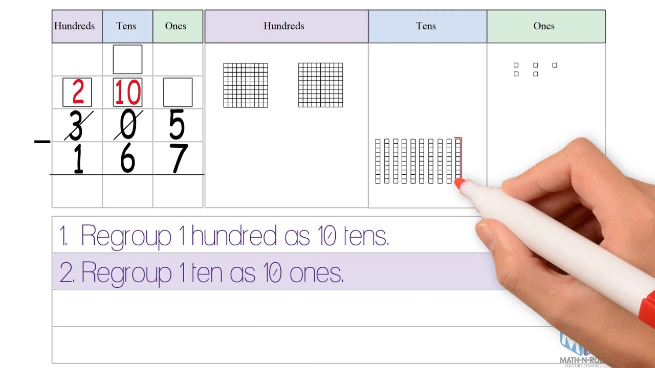 3 Digit Subtraction Regrouping With Zeros YouTube