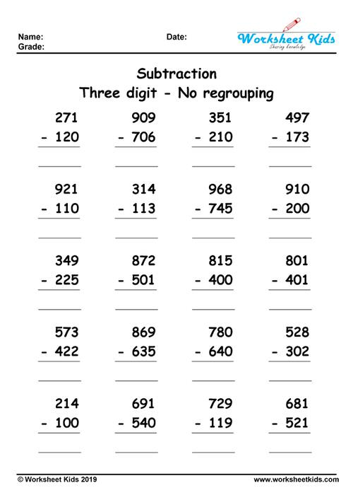 Subtraction Without Regrouping Worksheets Pdf