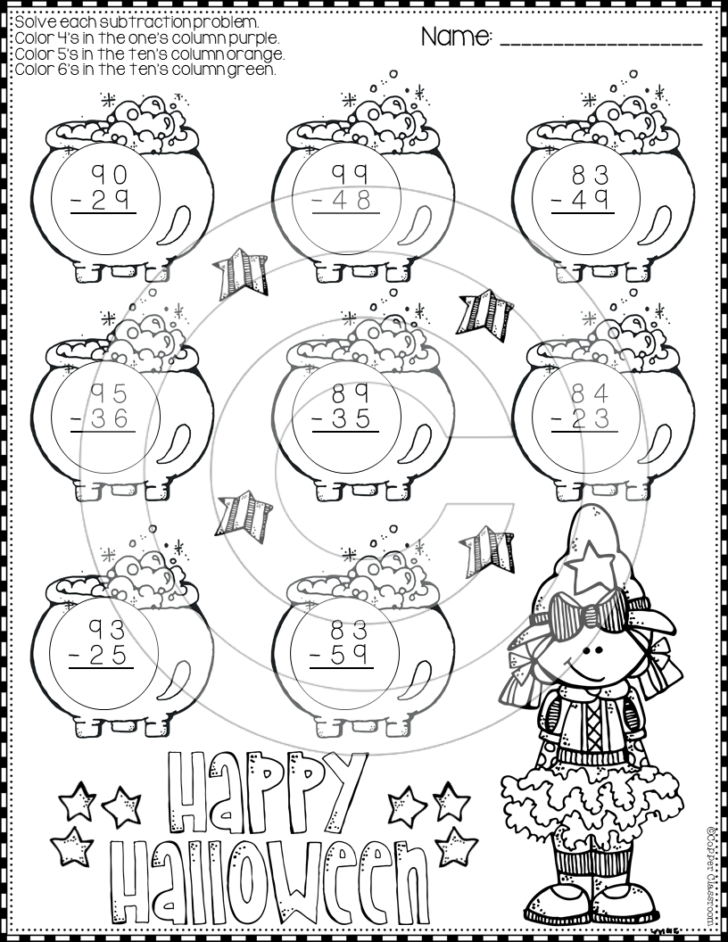 Subtraction With Regrouping Worksheets Halloween