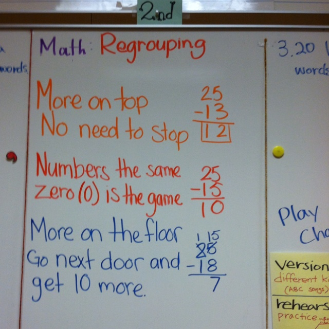 Subtraction Regrouping Chant