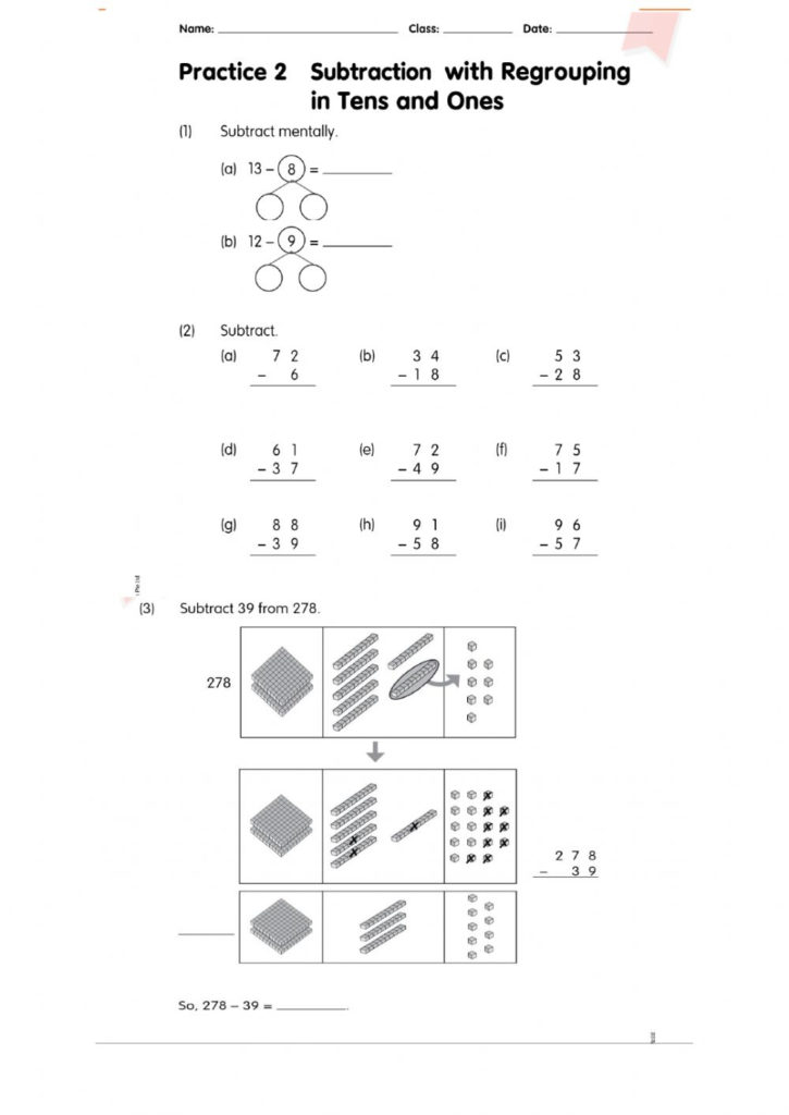 Subtraction In Regrouping In Tens And Ones Worksheet