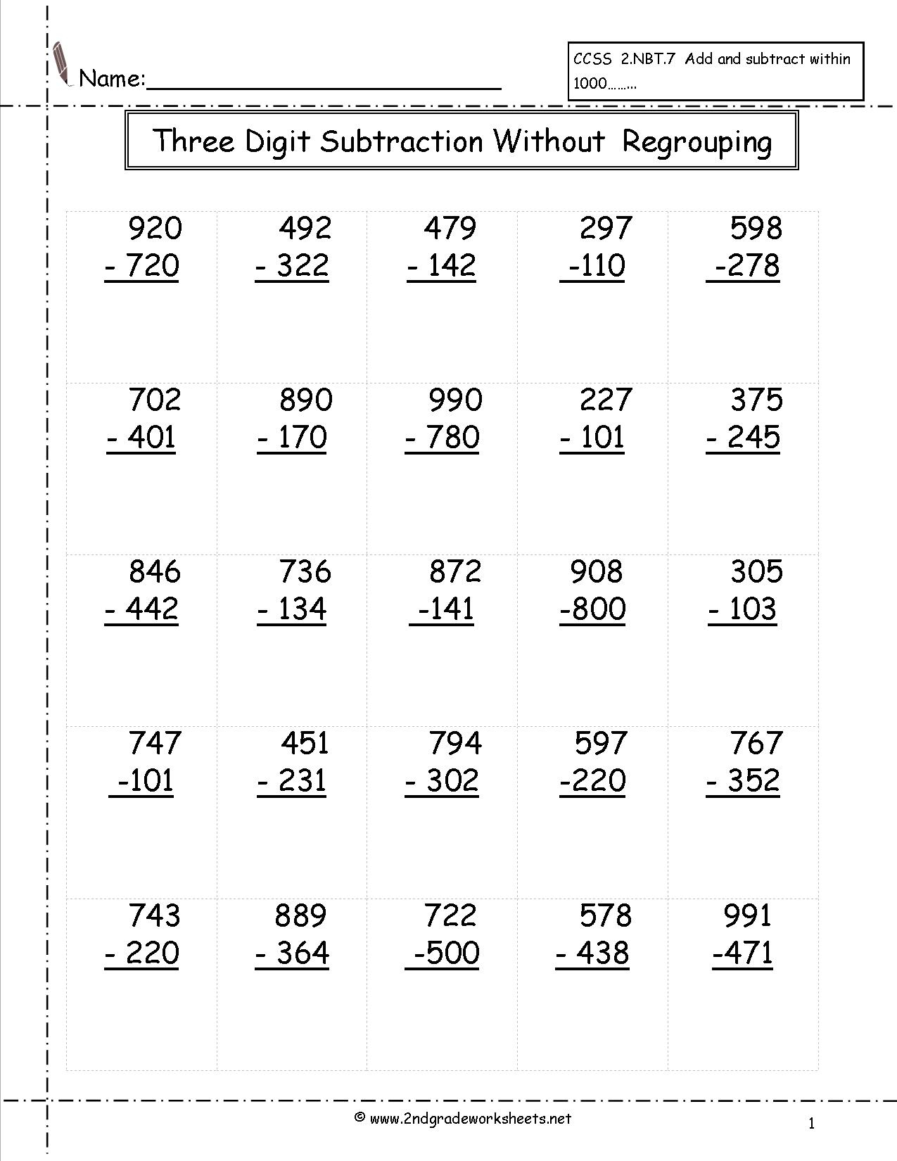 Subtraction Worksheets With Regrouping 2 Digits