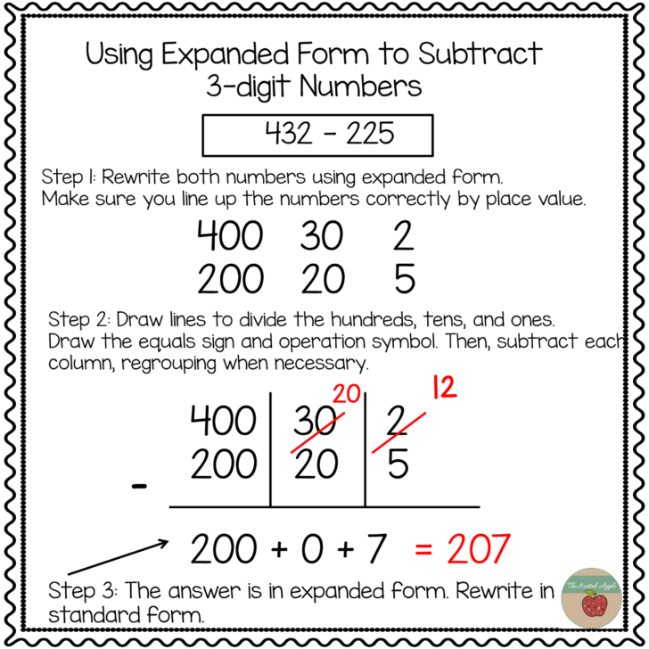 Subtraction With Regrouping Expanded Form